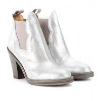 mytheresa.com -  Star metallic leather ankle boots  - Luxury Fashion for Women / Designer clothing, shoes, bags