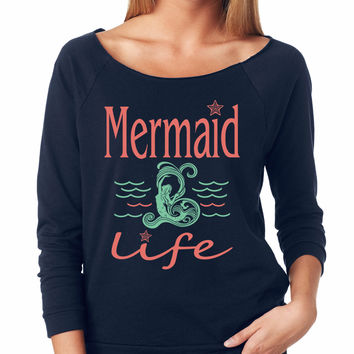 Navy Mermaid Life Raglan Shirt