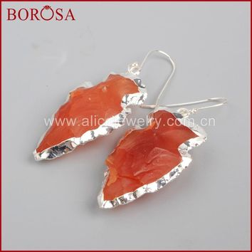 BOROSA 3Pairs Stylish pure Silver color Arrowhead Shape Raw Red Crystal Druzy Earrings for Women Girls Jewelry SS031
