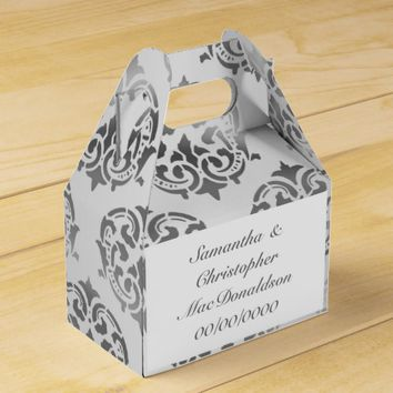 Silver grey damask pattern wedding favor box