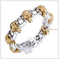 "8.66""*18mm 141g New Design 316L Stainless Steel Silver Gold Biker Jewelry Men's Skeleton Skull"