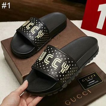 GUCCI new men's printed letter logo leather stitching sandals and slippers #1