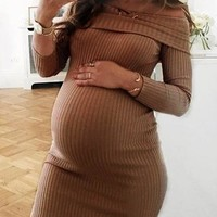 New Coffee Striped Off Shoulder Long Sleeve Fashion Knit Maternity Dress