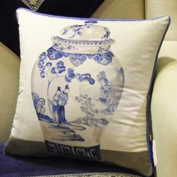 "Blue One Vase Printing Pillow 18""X18"""