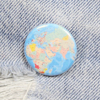 World Map 1.25 Inch Pin Back Button Badge
