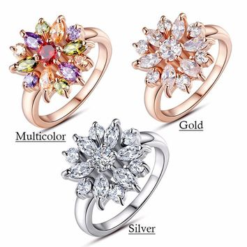 White Gold Color Finger AAA Clear/White Cubic Zircon Wedding Jewelry