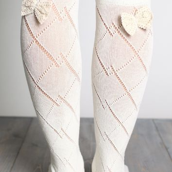 Thigh High Patterned Socks with Crochet Bow