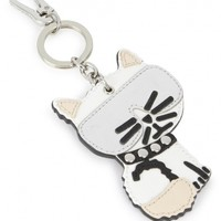 KARL LAGERFELD Choupette white cat pendant leather keyring