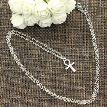 New Fashion Necklace cross egyptian ankh life symbol 21*13mm Silver Pendants Short Long Women Colar Gift Jewelry Choker