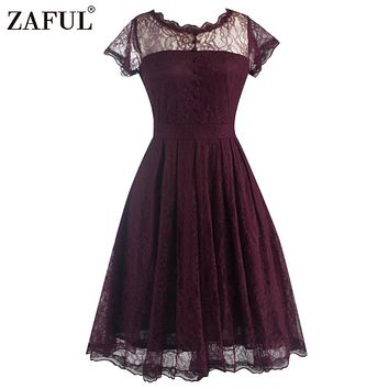ZAFUL New Women Lace Retro Vintage Pleated Dress Elegant Short Sleeve Gown Big Hem Party Swing Dress Feminino Vestidos