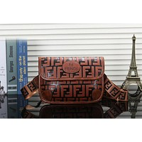 FENDI Hot Popular Women Shopping Leather Shoulder Bag Handbag Crossbody Satchel Brown