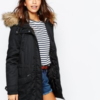 Only | Only Faux Fur Parka Jacket at ASOS