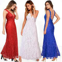 2017 New Deep V Neck Sexy Long Party Lace Dress Plus Size Backless Dresses Sleeveless Maxi Elegant Women Dress Summer Red
