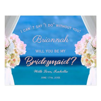 Elegant Ocean Beach Rosegold Bridesmaid Postcard