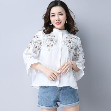 Women Vintage Cotton Linen Embroidery Blouse New 3/4 Sleeve Blusas Feminina Stand Collar Loose Casual Shirts Tops White Blue