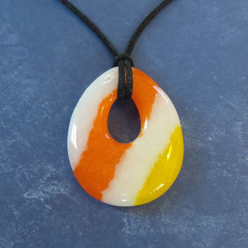 Striped Teardrop Pendant, Orange, Yellow and White Fused Glass Jewelry - Sakari - 4726 -4