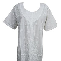 "Womens Boho Top Short Cotton White Embroidered Short Sleeve Dress (Chest:46"")"