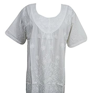 """Womens Boho Top Short Cotton White Embroidered Short Sleeve Dress (Chest:46"""")"""