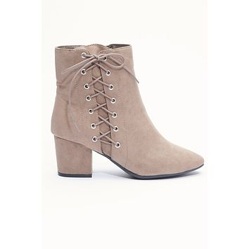 London Lace Up Booties (Taupe)