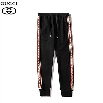 GUCCI New fashion more letter print high quality couple pants Black