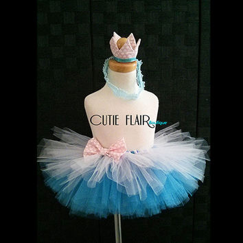 "Girls Tutu Skirt Set - Girls 1st Birthday Tutu - Tutu skirt and Crown headband - Baby Photo prop - Sewn 8"" Tutu - size 12M - Ready to Ship!"