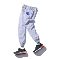 Autumn and winter tide brand big C small feet embroidered trousers champion plus velvet plus cashmere leisure sports foot pants Gray