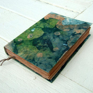 The land of green  - Handmade batik fabric journal, notebook, antique paper,  200 pages
