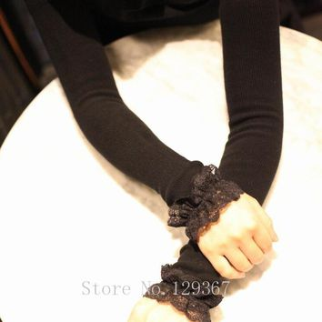 women's autumn and winter long knitted lace gloves lady's thicken warm long gloves sexy fingerless gloves arm sleeves