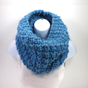 SALE Knitted Chunky Textured Cowl /SKY BLUE/, Unisex Cowl, Neck Warmer, Men Women Loop Scarf, Gift Idea