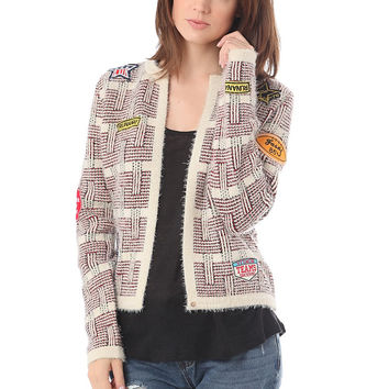 Beige chanel cardigan with multi patch by Q2 (Spain)