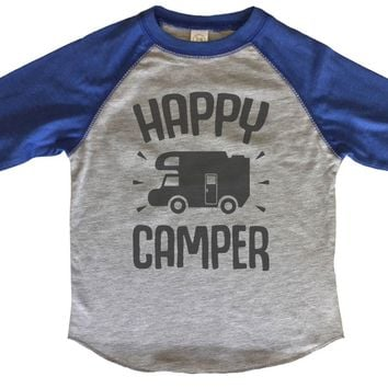 Happy Camper BOYS OR GIRLS BASEBALL 3/4 SLEEVE RAGLAN - VERY SOFT TRENDY SHIRT B839