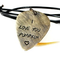 Personalized Rustic Brass Guitar Pick Necklace On Adjustable Leather.