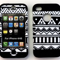 Bumper Case for Apple iphone 4 4G 4S Black & White Aztec Print hard plastic snap on over Black Silicone Gel