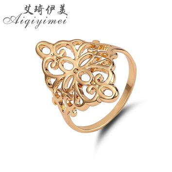 Aiqiyimei New Fashion FILIGREE KITE RING Gold Color Hollow-out Flower Of Life Simple Finger Rings For Women Brand Jewelry Gift