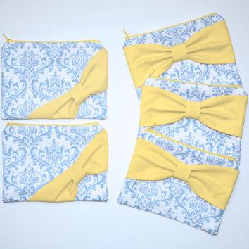 Bridesmaid Gift Set / Bachelorette Favors - French Blue Damask Yellow Bow - Customizable Cosmetic Cases - Choose Quantity and Bow Style