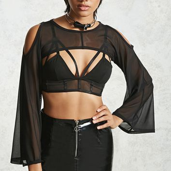 Mesh Bell Sleeve Crop Top