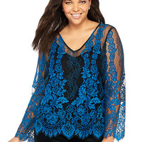 Plus Size Lace Scalloped Top