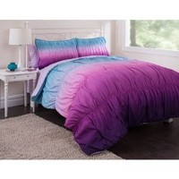 5pc Teen Girl Reversible Purple Tie Dye Twin Comforter Set (5pc Bed in a Bag)