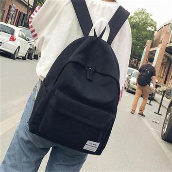 School Backpack trendy JIANXIU Canvas Solid Color Backpack Japan Style School Bag Female Casual Backpack AT_54_4