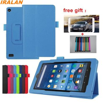 Hot Litchi Skin PU Leather Stand Folio Case For Amazon kindle fire HD7 2015 7 inch Luxury Flip Smart Cover+Stylus free shipping
