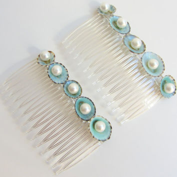 Beach Sea Shell Hair Combs with Pearl Embellishments