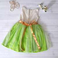 Green tutu dress for toddler and little girls, Girl's party dress, flower girls dress, birthday dress, sequined dress, cream and green