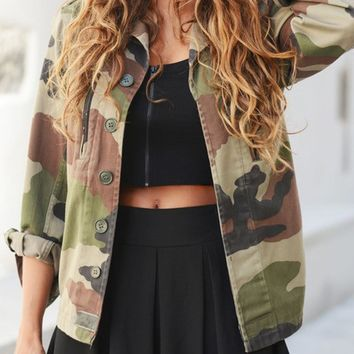 CasualFashion Women Camouflage Jacket Sheath Outerwear Vogue Coat Military Fatigues Restoring Women Button Jacket Army Green