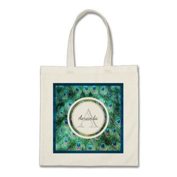 Peacock Feathers Exotic Wild Watercolor Monogram Tote Bag