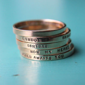 Solid 14k yellow gold custom hand stamped tiny band ring yellow gold. Knuckle size available.