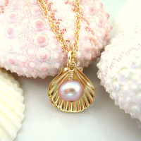 Gold sea shell rose pearl charm necklace
