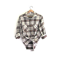 Vintage BIG MAC Plaid Flannel / Grunge Shirt / Thick cotton button up work shirt / M