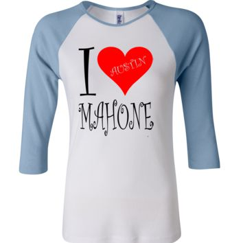 I Heart Austin Mahone 3/4 Sleeve Baseball Ladies Jersey