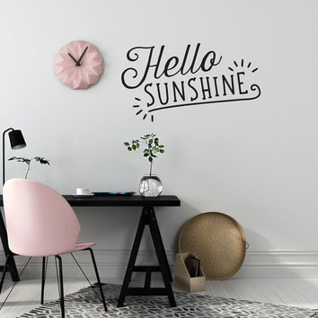 Hello Sunshine Wall Decal, Typography Wall Sticker, Kids Sticker, Typography Decal, Nursery Decal, Office Decor, Bedroom Wall Decal