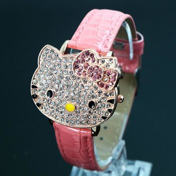 Hot Sales Cute Hello Kitty Watches Children Girls Women Fashion Rhinestone Dress Quatz Wristwatches 048-27